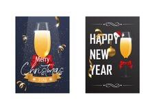 与一杯的圣诞节和新年海报香槟 免版税库存照片
