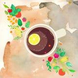 与一杯茶的图象的例证、莓果、叶子和分支 免版税库存图片