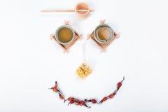 与一杯茶的早晨好 免版税库存图片