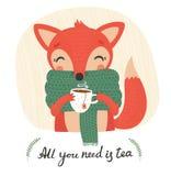 与一杯茶的逗人喜爱的狐狸 图库摄影
