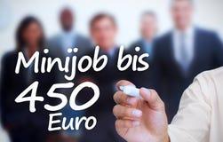 与一标志minijob bis 450欧元的商人文字 库存图片