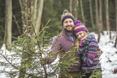 与一棵圣诞树的年轻对在森林里 图库摄影