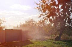 与一棵大树的10月风景和一个私有房子的围场在村庄,敲从烹调ke的烟 库存照片