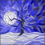 与一棵孤立树的彩色玻璃例证反对明亮的月亮和雪 库存图片