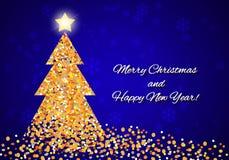与一棵抽象圣诞树的圣诞卡从五彩纸屑 皇族释放例证