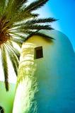 与一棵棕榈树的白色石塔与对它的蓝色和绿色作用 免版税库存照片