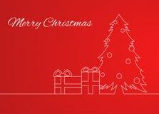 与一棵简单的线性样式圣诞树的贺卡 免版税库存图片