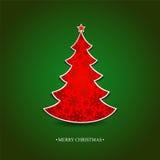 与一棵红色树的圣诞卡 免版税库存照片