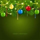 与一棵美丽的树的圣诞卡 库存图片