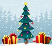 与一棵蓝色圣诞树的假日背景和在雪的礼物盒 也corel凹道例证向量 免版税库存照片