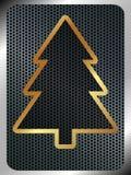 与一棵金属圣诞树的圣诞节背景 向量例证