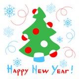 与一棵风格化圣诞树的新年快乐卡片在白色后面 向量例证
