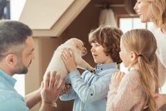 与一点拉布拉多小狗的年轻家庭在前面 库存照片