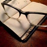 与一点黑名册的减速火箭的眼镜 库存照片