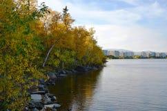 与一片五颜六色的秋天叶子的树,生长在山坡在湖的石岸附近,弯曲在镇静水表面 库存图片