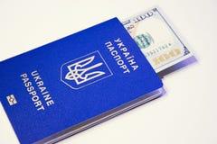 与一百的乌克兰人外国生物统计的护照 库存图片