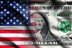 与一美元钞票-挥动的织品背景,墙纸,特写镜头的美国国旗 库存照片