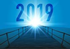 与一艘浮船的贺卡2019年在海 库存例证
