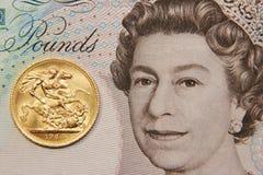 与一英磅纯正的金子,老类型的英国钞票, 1964年 免版税库存照片
