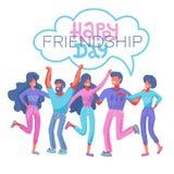 与一起拥抱为特别活动庆祝的不同的朋友人的愉快的友谊天贺卡 EPS10 库存例证