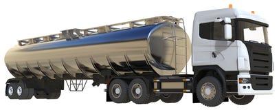 与一辆优美的金属拖车的大白色卡车罐车 从所有边的看法 3d例证 图库摄影