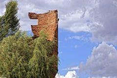 与一部分的被破坏的砖水塔的墙壁和树枝反对天空 免版税库存图片