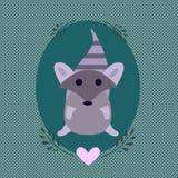 与一部可爱的动画片的逗人喜爱的贴纸标志称呼了浣熊 向量例证
