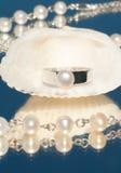 与一颗唯一珍珠的银色环形 库存照片