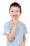 与一颗失去的牙的男孩画象 库存图片