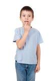 与一颗失去的牙的男孩画象 免版税图库摄影
