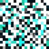 与一滴作用的蓝色方形的无缝的样式 免版税库存照片
