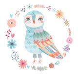 与一头美丽的猫头鹰的水彩花卉背景 免版税库存图片