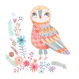 与一头美丽的猫头鹰的水彩花卉背景 库存图片
