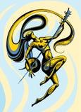 与一sintar的长发女孩跳舞在与蓝色的背景和黄色 库存例证