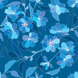 与丁香和蓝色花的无缝的模式 库存图片