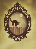 与万圣夜猫的华丽黑框架 免版税库存图片