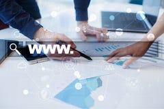 与万维网文本的查寻酒吧 网站, URL 数字式营销 事务、互联网和技术概念 库存图片