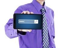 与万维网文本的商人在屏幕机动性 免版税库存图片