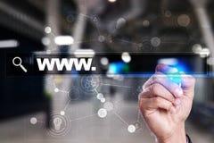 与万维网文本的查寻酒吧 网站, URL 事务,互联网,技术概念 库存图片