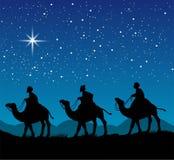 与三个圣人的基督徒圣诞节场面 库存图片