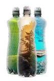 与三个塑料瓶的Eco概念 库存照片
