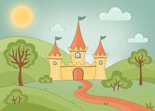 与三个塔、一个被加强的门和一条道路的一座童话城堡在一个绿色公园的背景有老树的 向量例证