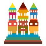 与三个屋顶和许多窗口的一个五颜六色的高大厦 库存例证