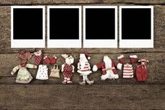 与三个照片框架的圣诞节 免版税库存照片