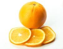 与三个片断的桔子在白色 库存照片