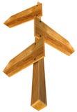 与三个箭头的木符号 免版税库存照片