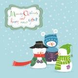 与三个雪人的贺卡 免版税库存图片