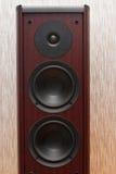 与三位报告人的音响木伴音系统 库存照片