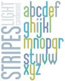 与三倍条纹,明亮的浓缩的lowercas的海报减速火箭的字体 免版税库存图片