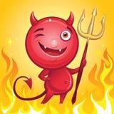 与三叉戟的滑稽的恶魔漫画人物 免版税库存照片